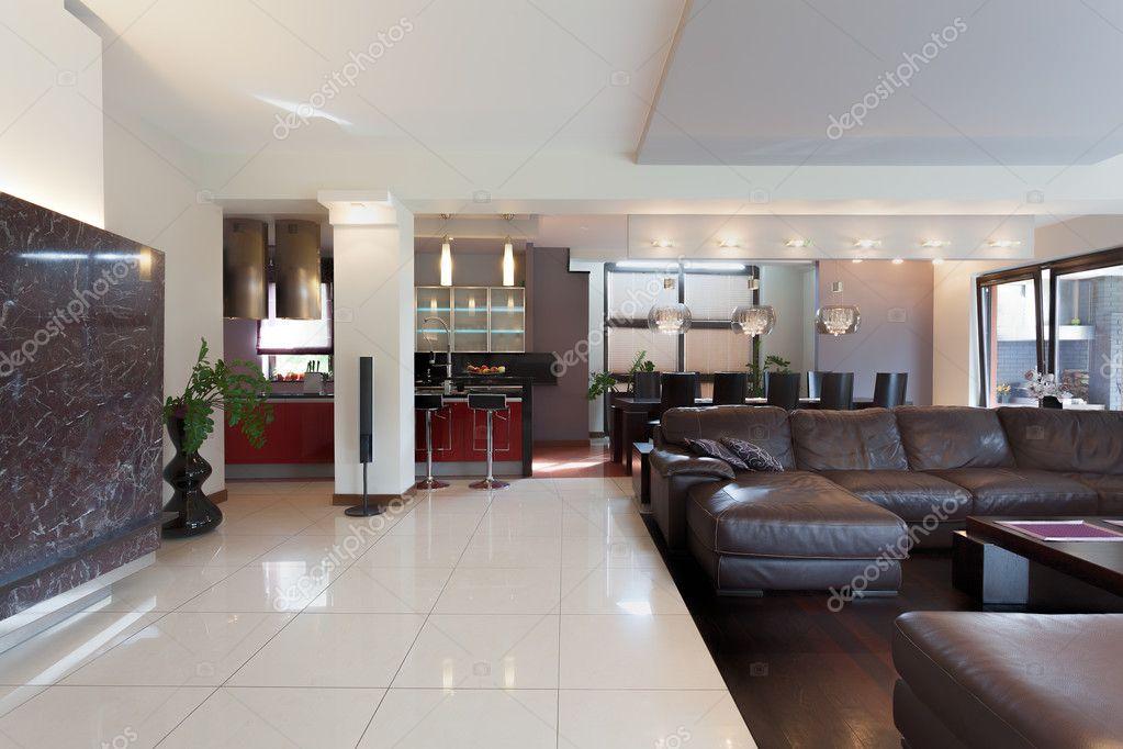 cucina, soggiorno e sala da pranzo — Foto Stock © photographee.eu ...