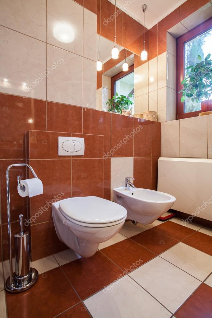 bruin en beige toilet interieur wc en bidet foto van photographeeeu