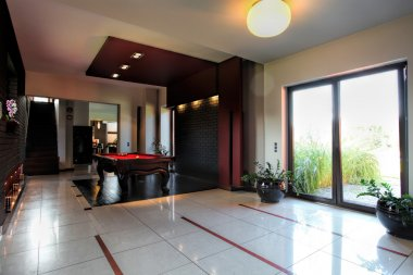 Billard table inside modern house