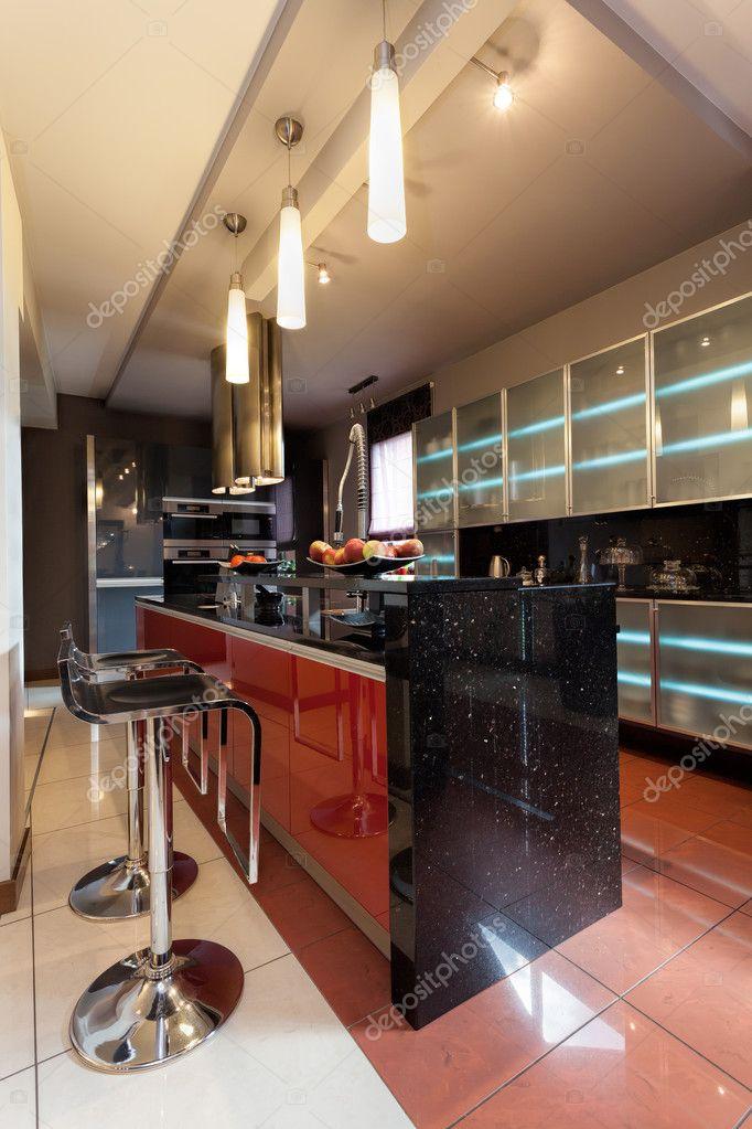 bancone della cucina con bar sedie — Foto Stock © photographee.eu ...