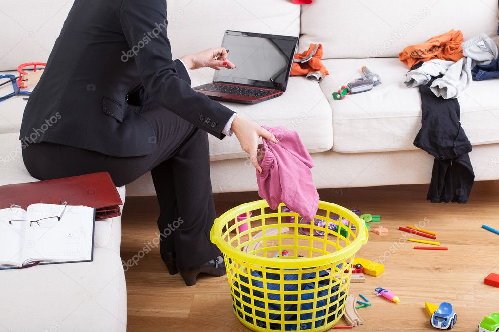 Active woman cleaning house and working