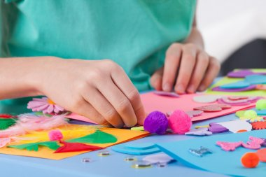 Boy making crafts