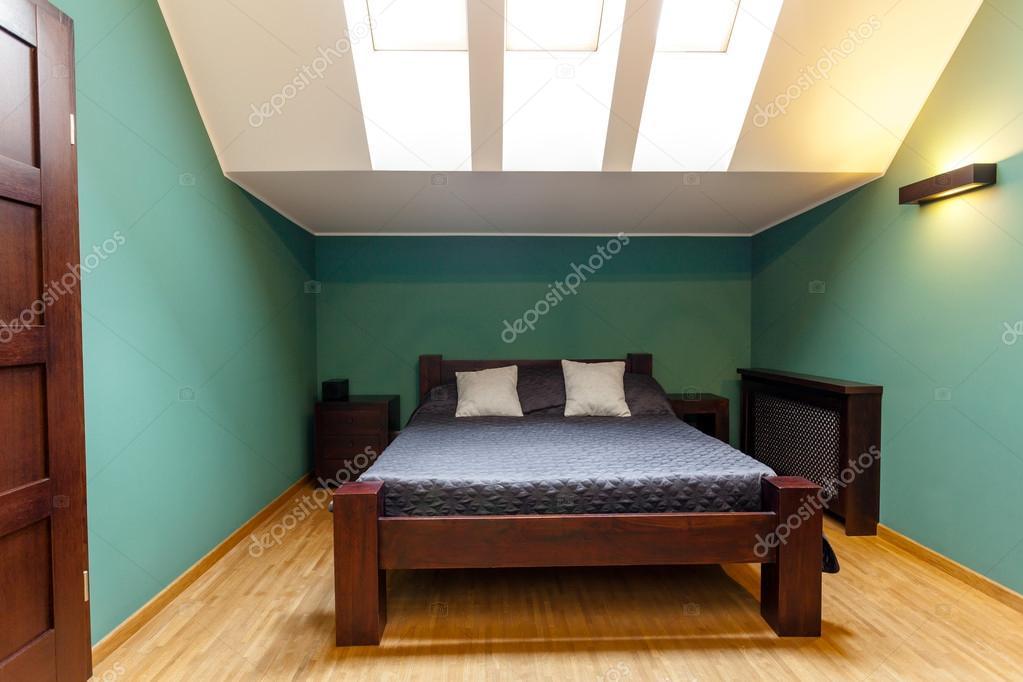 Moderne slaapkamer in turquoise kleuren u2014 stockfoto © photographee