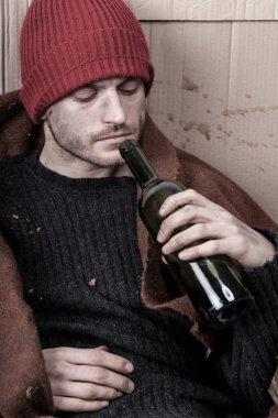 Homeless addicted to alcohol