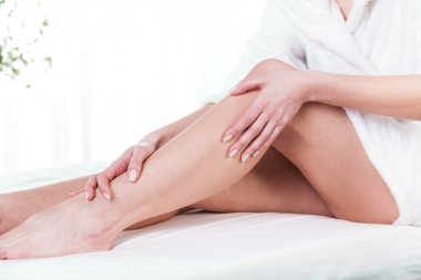 Female legs after massage