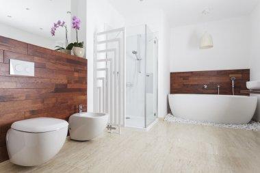 """Картина, постер, плакат, фотообои """"ванная комната с ванной зеркало раме зеркала круглые напольное круглое полный прованс"""", артикул 49368581"""
