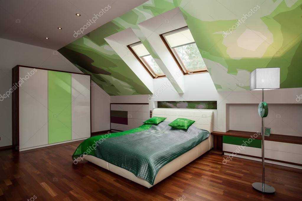 elegáns fehér és zöld hálószoba — Stock Fotó © photographee.eu ...