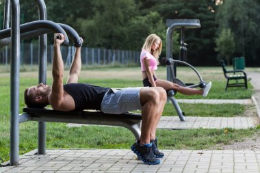 People training on gym