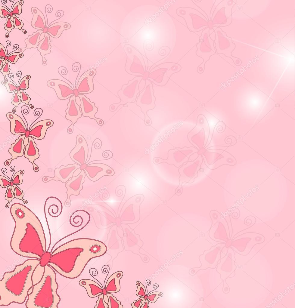Mano disegnare lo sfondo di farfalle rosa vettoriali for Sfondi con farfalle