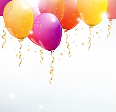 Vector balloons background with party streamers and beautiful confetti