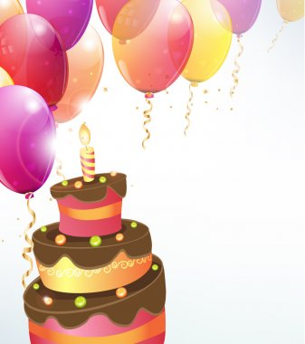 Vector balloons background with cake, party streamers and beautiful confetti