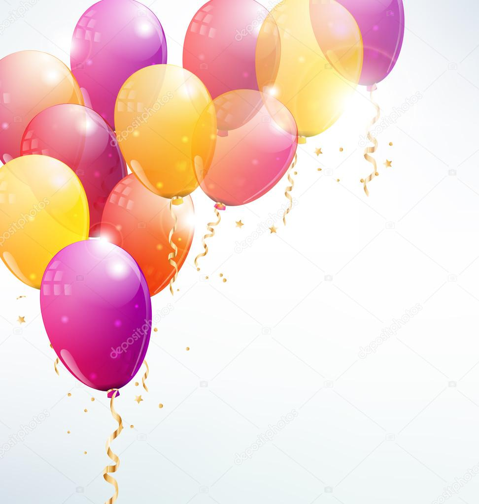 Vector Balloons Background With Party Streamers And