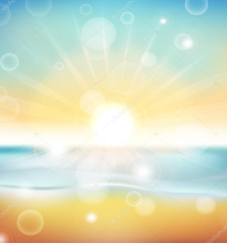 Beach and tropical sea with bright sun. EPS10 vector