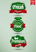 Fotografia etichetta di alimenti freschi di fattoria, distintivo o sigillo