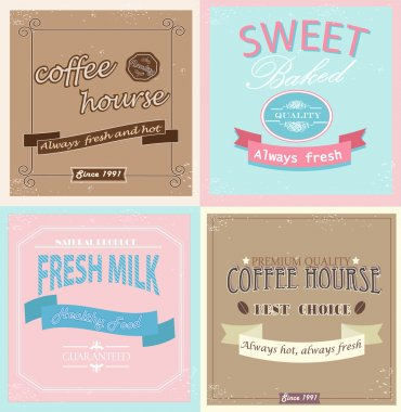 Set of retro label cards for vintage design, old paper textures and seamless patterns