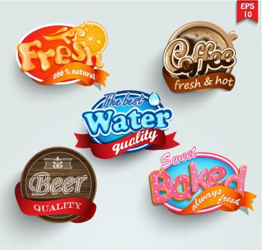 Set of stickers of drinks