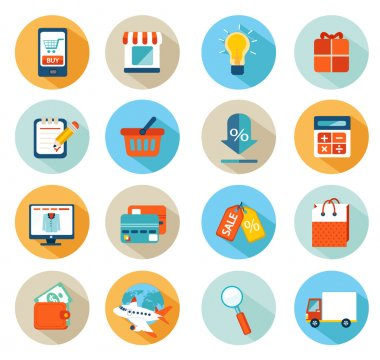 Set of flat design icons for online shopping