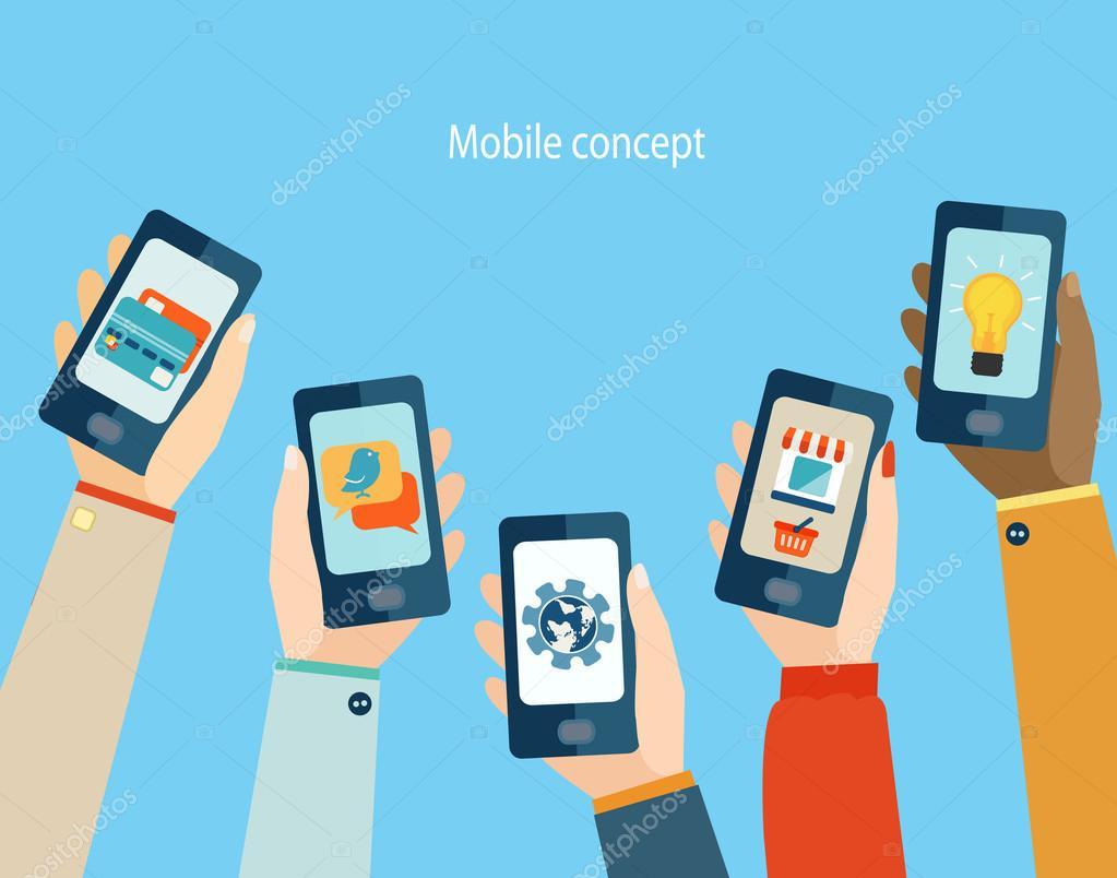 Mobile apps, Flat design