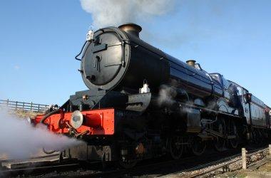 steam train engine on platform