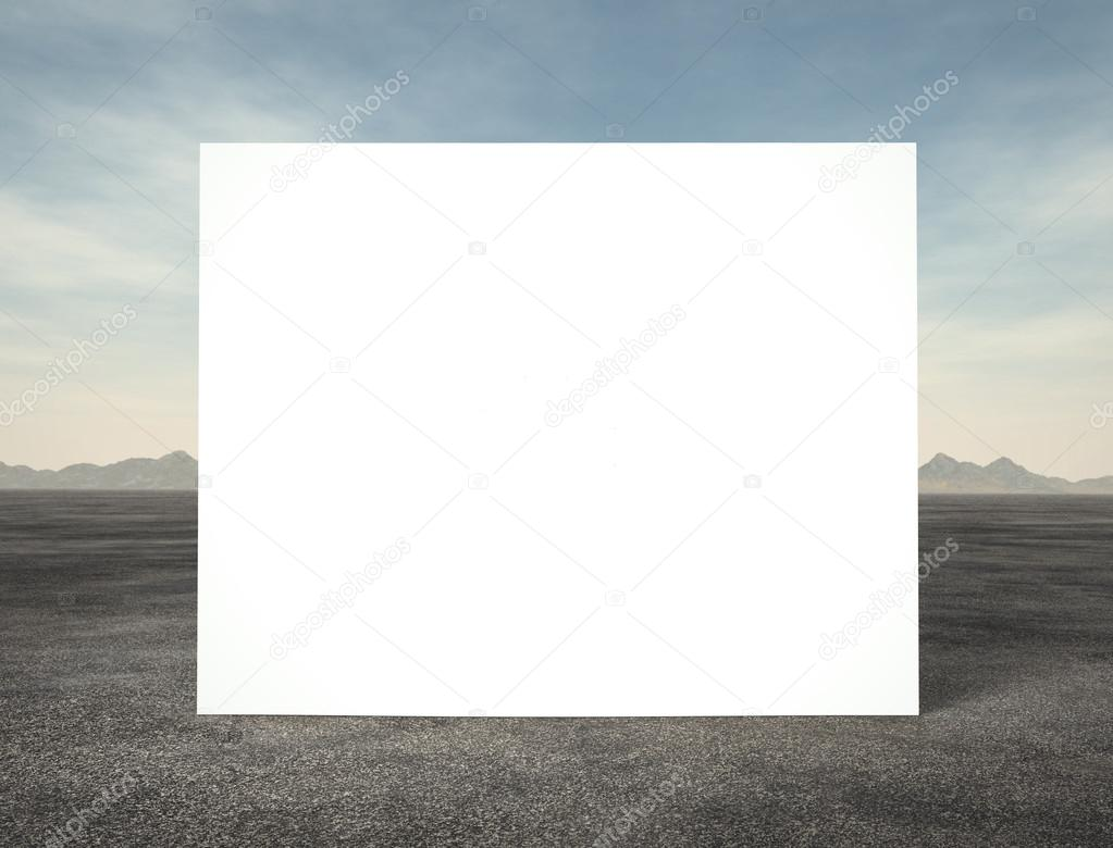 white poster on a landscape background