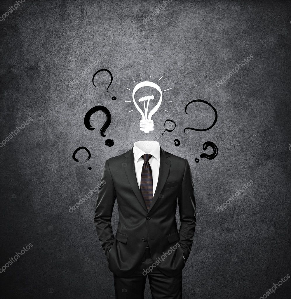 man standing without head with drawing question marks