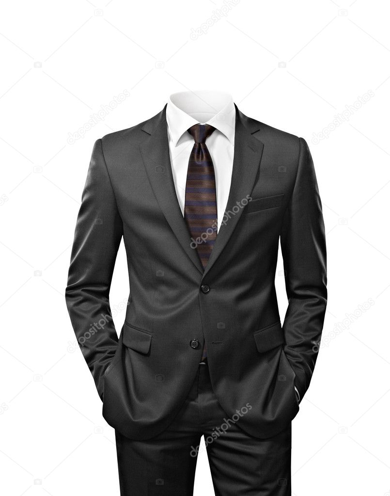 man without head isolated on white