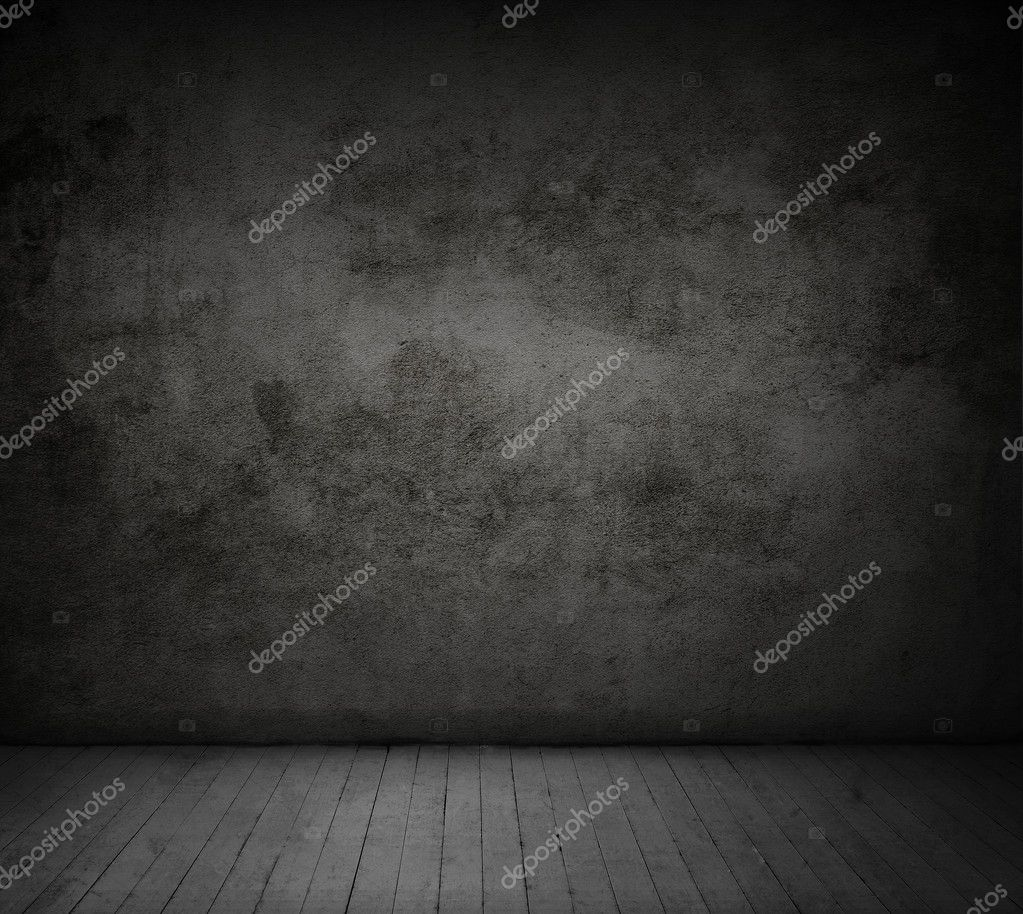 black concrete wall and wood floor
