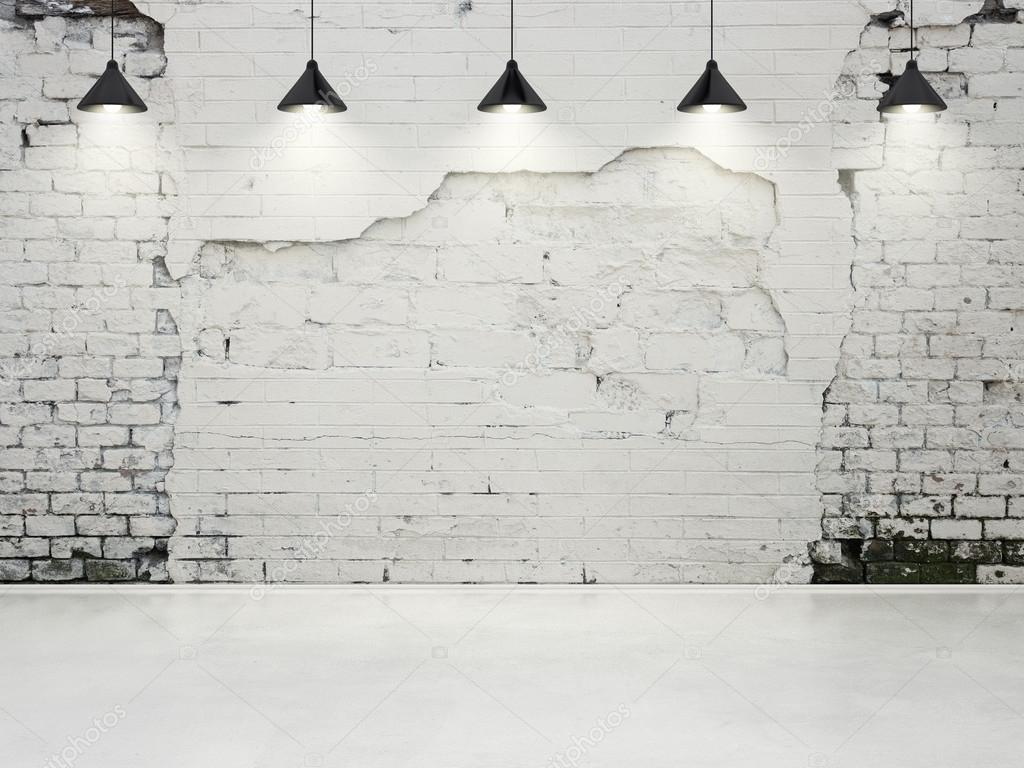 Grunge wall with lamps
