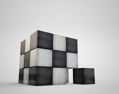 The geometrical image cubes. Granite cube on white background