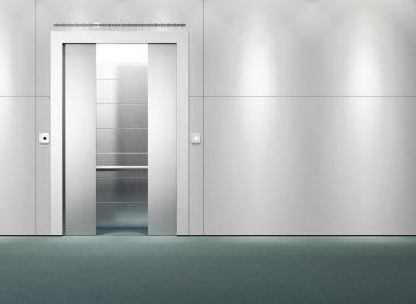 One open doors elevator