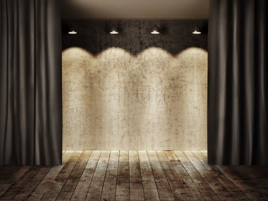 Vintage stage and curtain