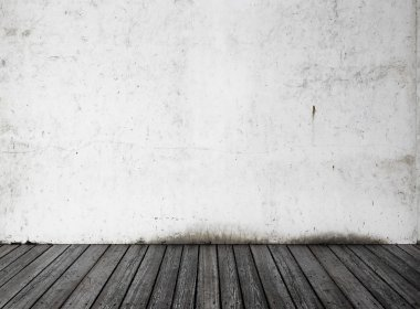 White wall and black wood floor