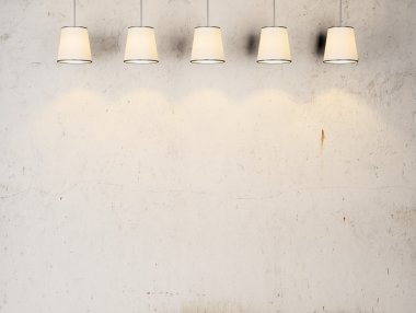 Vintage wall with lamps