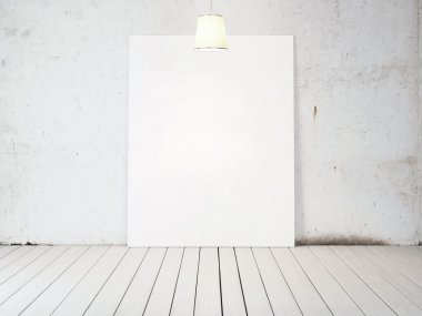 Blank poster with lamp light