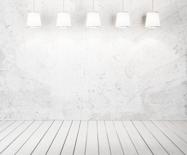 Cement wall background with lamps