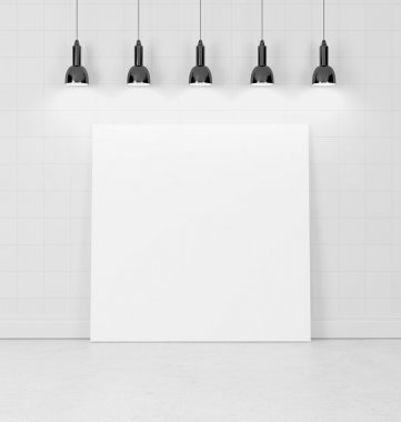 Blank poster and wall with lamps