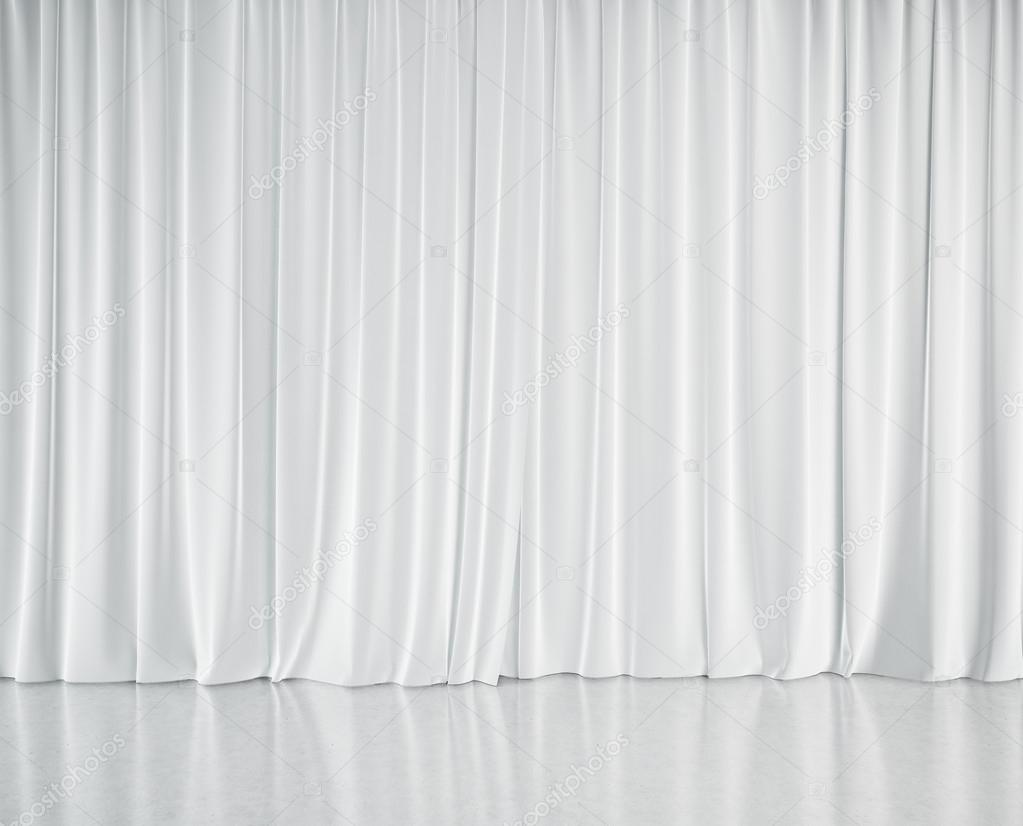 Stage With White Curtains U2014 Stock Photo