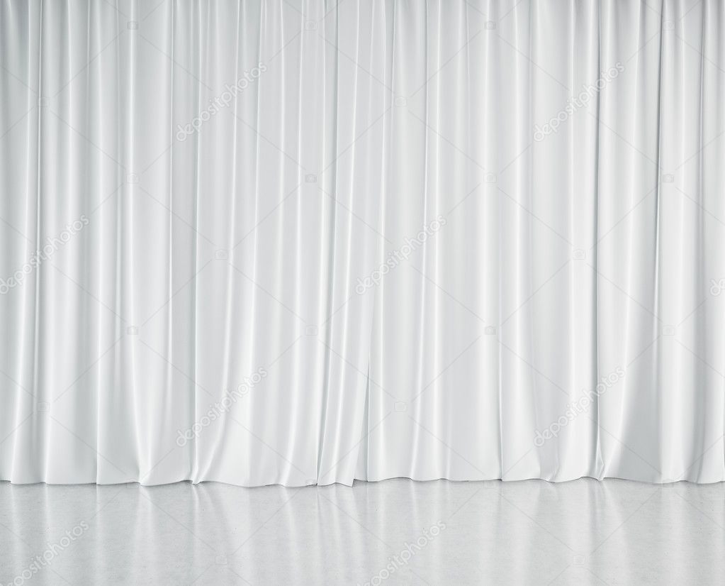 Stage With White Curtains Stock Photo
