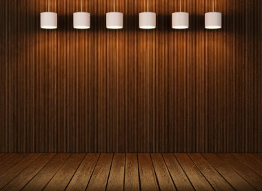 Wood wall and floor with lamps
