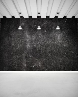 Black wall and white floor