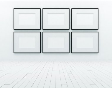 Blank frames on wall