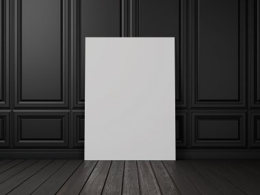 Blank poster in a dark room