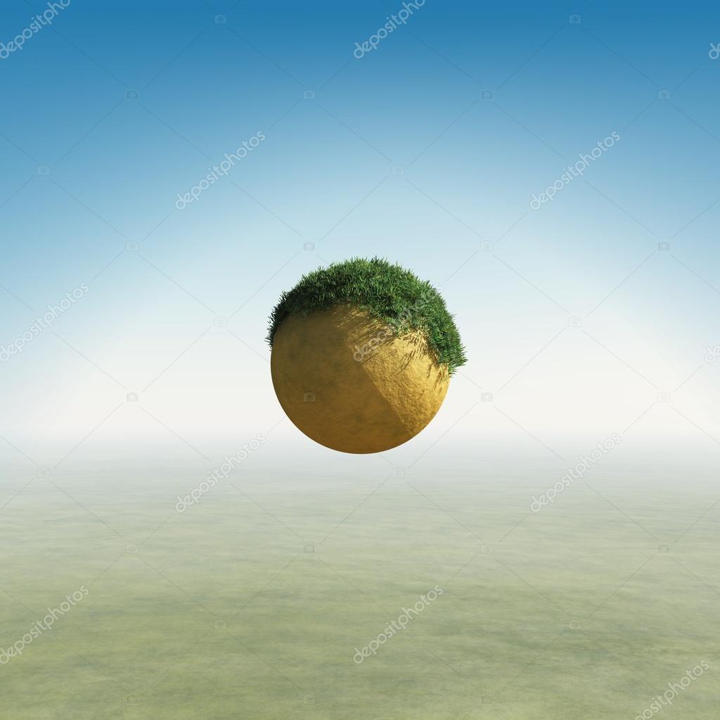 Small planet flying over vast desert