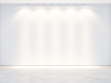 Empty white wall with lamp