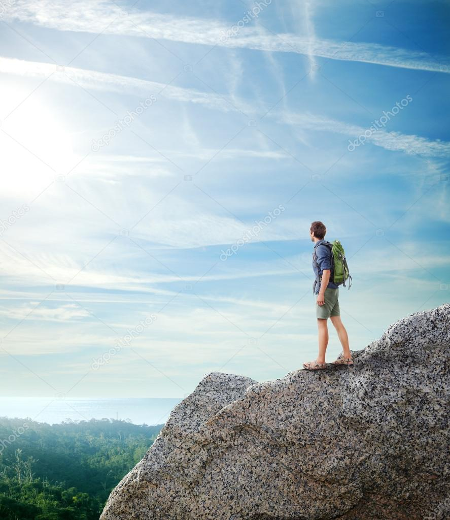 Traveler looking tropical landscape