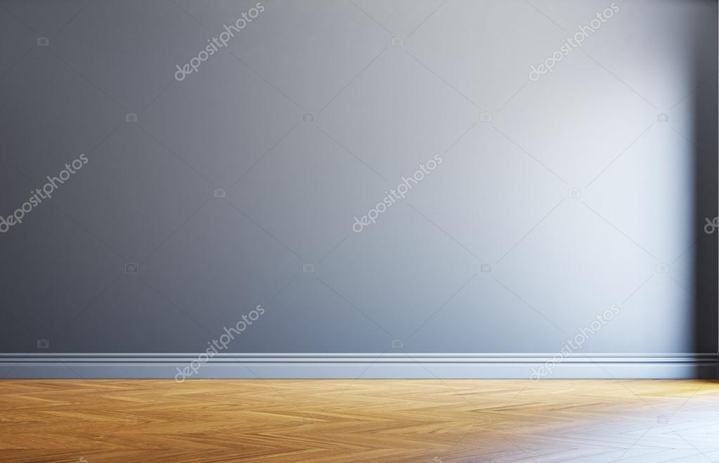 Houten Vloer Grijs : Grijs muur en houten vloer u stockfoto kantver