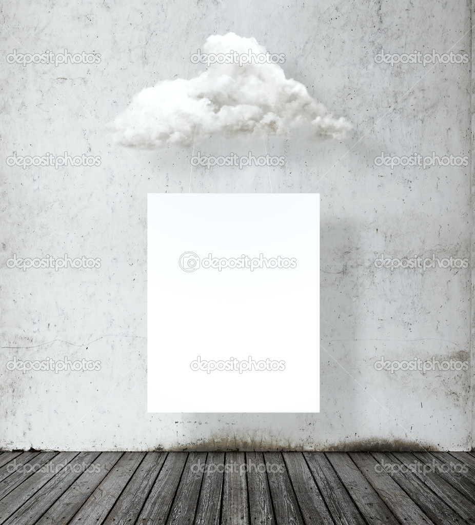 Blank white poster hanging on a cloud
