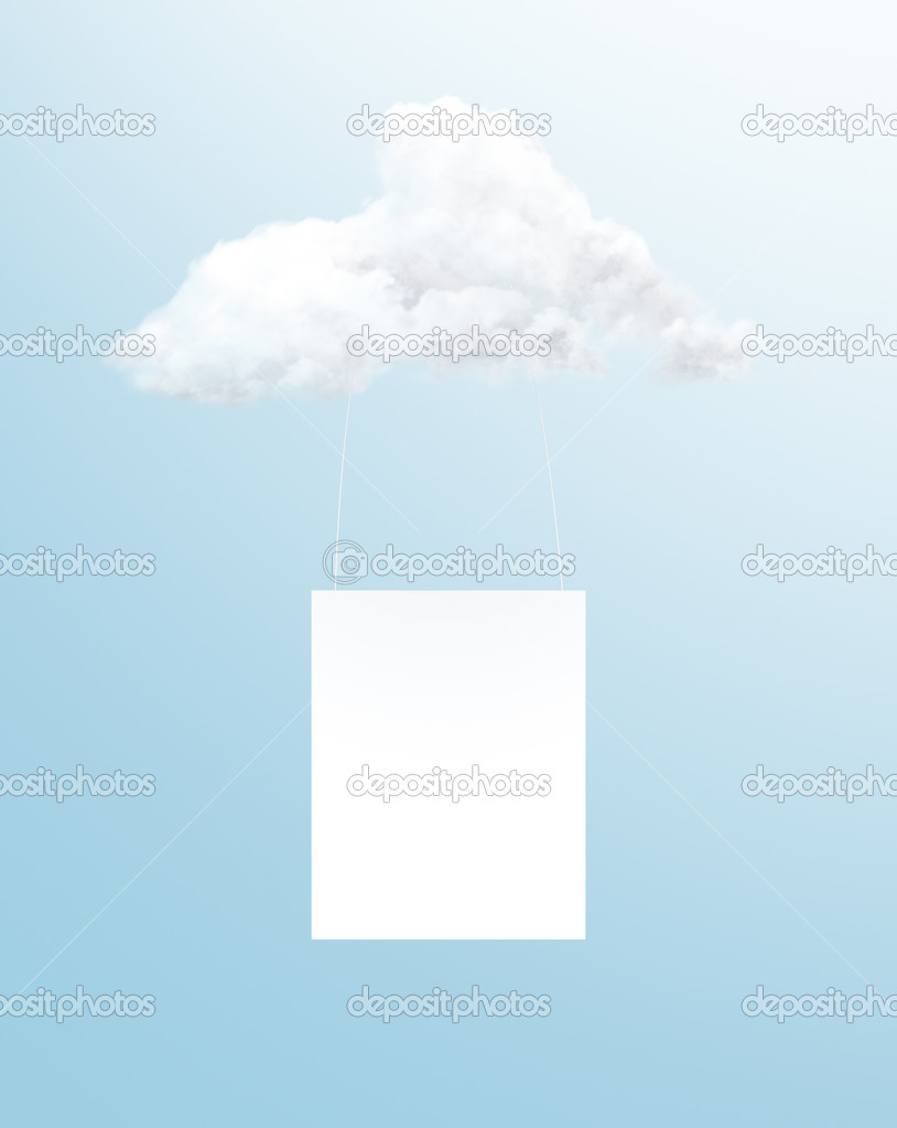 Blank poster hanging on a cloud