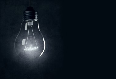 Bulb with shining idea