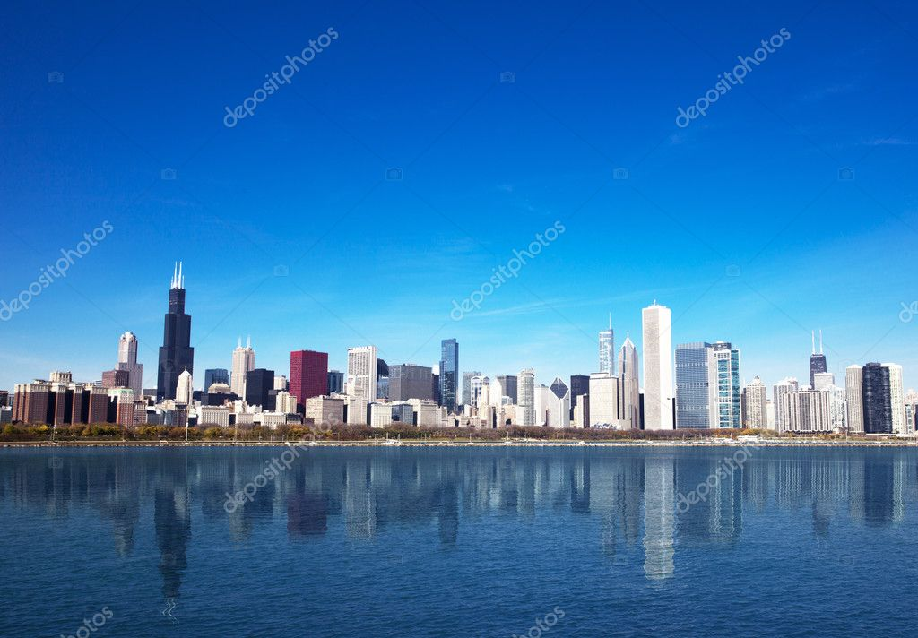 Picture Chicago Skyline From Michigan Chicago Skyline From Lake Michigan Stock Photo C Jeremy Reds 23933399